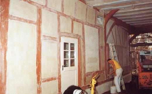 Fachwerkhaus während Sanierung